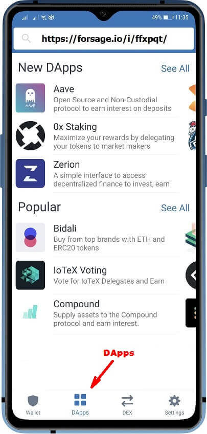 Dapps screenshot smaller